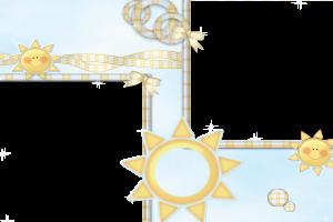 Детская фоторамка с солнышками на две фотографии.