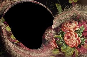 Великолепная рамка для фотошопа в стиле русских народных росписей. Розы и перья Жар птицы.