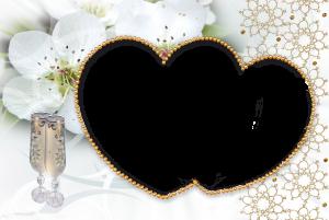 Любовная рамка украсит цветущей вишней, шампанским и золотыми бусинками ваши фото.