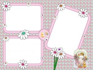 Розовая рамка для девочки. С права можно поместить фото мамы и папы.
