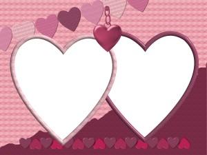 Свадебная фотошоп рамка. Сердца для влюбленных.