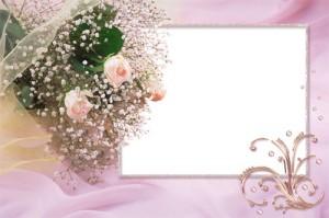 Праздничная рамка для фотошопа с цветами подходит для обрамления фотографий с торжества или для вставки красивой надписи.