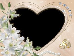 Свадебная рамка с орхидеями. Белый цвет олицетворяет невинность и непорочность.