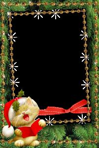 Рыжий кот, Новогодние песни орет! Новогодняя фоторамка с рыжим котом в колпаке. Скачать бесплатные рамки для фотошопа. Фоторамки для фото онлайн.