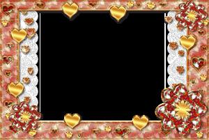 Отличная романтическая рамка с золотыми сердечками. Модный и нежный аксессуар для обрамления фотографий в фотошоп. Правильно подобранное фото - и результат офигительный и не попсовый. Отменная добрая обстановка и любовный мотив, то что доктор прописал для снимка счастливой пары или любимого чада.