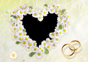 Привлекательное сердечко из ромашек в рамке для фотошопа, украшенное обручальными кольцами, так и пышет нежностью и обволакивает замечательной воздушностью. Огромный заряд любви получит милая, если вы вставите ее фотографию в эту рамочку. Весьма оригинальный способ сделать предложение о замужестве.