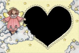 Детская фоторамка влюбленный ангелочек. Фоторамки онлайн. Бесплатные рамки для фотошопа.