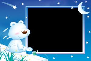 Детская фоторамка. Медведь, лягушонок и некто любуются звездным небом.