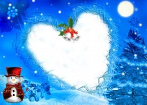 Новогодняя фоторамка с сердечком. Ночная сказка про елку рассказанная добрым снеговиком.