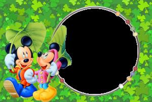 Микки Маус и Мини Маус украшают эту зеленую фоторамку. Бесплатно рамки для фото. Фоторамки для фотографий 181