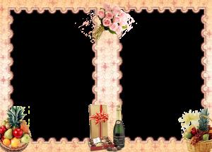 Букет роз, фрукты, конфеты, шампанское в фоторамке на 2 фото. Бесплатно рамки для фото. Фоторамки для фотографий 182