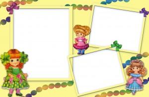 Фоторамка для девочек на три фотографии, с 3мя очаровательными куклами, бусами и бантиками. Рамки для фото онлайн. Скачать бесплатные фоторамки для фотошопа 189