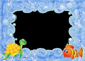 Детская фоторамка с черепахой и рыбкой. Рамки для фото онлайн. Скачать бесплатные фоторамки для фотошопа 190