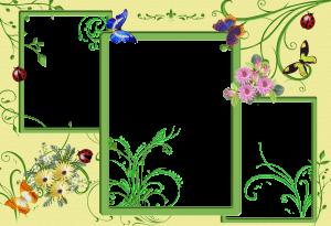 Цветочная фоторамка на три фотографии. Фоторамки для фотошопа. Бесплатно рамки для фото 198