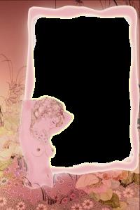 Фоторамка с осенними цветами и силуэтом обнажённой женщины. Бесплатные рамки для фотографий. Скачать фоторамки для фотошопа 202