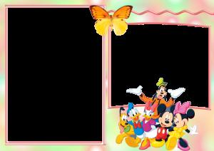 Детская фоторамка. Герои мультфильмов покорят и обаяют ваших малышей. Чудесный Дональд, обворожительный Микки Маус, кайфовый пес Плуто. Дивная оранжевая с желтым бабочка дополнит картину своей нежностью.