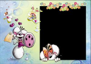Детская фоторамка. Веселые мышки несут любовные послания. Зайчик в небе катается на письме. Они все очень радуются, ведь видят картинку поставленную рядом с ними.