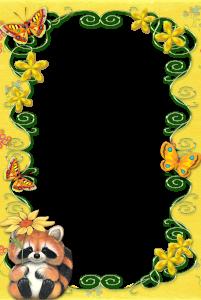 Детская фоторамка с енотом, бабочками и цветами.