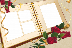 Фоторамка на четыре фотографии, фоторамка выполнена в форме ежедневника рядом с которым лежат шикарные розы.