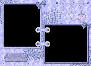 Бесплатная фотошоп рамка на две фотографии. Подвески сердечки и фон цвета васильков.