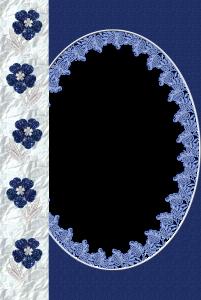 Цветочная рамка с синими ромашками из страз, обрамленная изысканной тканью.