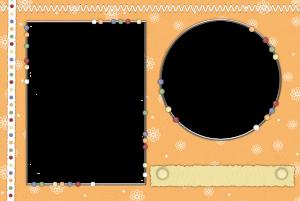 Оранжевый шаблон рамки с шариками и цветочками на два фото. Не забудьте сделать надпись внизу в специальной ячейке. Удачного вам творчества.
