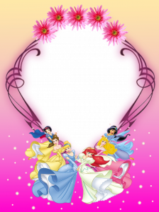 Рамочка все принцессы Диснея для самой красивой девочки на свете. Они танцуют в хороводе цветов специально для тебя.