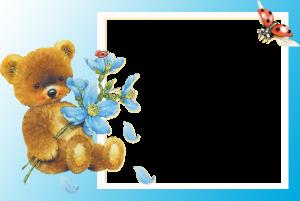 Фоторамка плюшевый мишка. Добрый плюшевый мишка хочет подарить тебе голубую ромашку, которую он с любовью нашел в лесу, а помогали ему божьи коровки.