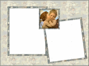 Рамочка Поцелуй ангелов заколдует умилением и очарованием. Готовая работа в таком оформлении будет опутывать любовными чарами и завораживать зрителя.