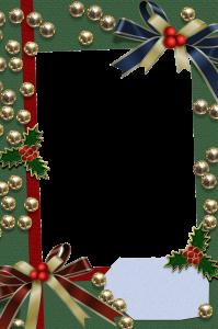 Новогодняя рамка для фотошопа. Золотые бусины и красные ленточки сделают атмосферу праздника еще игривее и веселее.