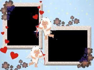 Рамка для фотошопа на день святого Валентина. Игривые ангелочки пронзят своими стрелами любви ваши сердца на долгие годы.
