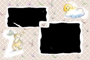 Детская фоторамка на две фотографии. Медвежонок ловит бабочку а ласковое солнышко ему улыбается.