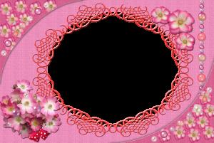 Розовая фоторамка с цветами. Розовый цвет создаст нежное настроение.