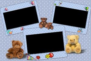 Детская рамка с плюшевыми мишками на три кадра. Есть место для мамы, папы и малыша или для большой семьи братиков и сестричек.