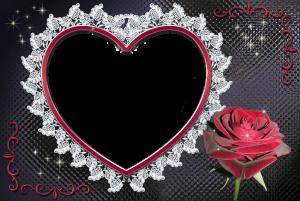 Роза и сердце. Что может быть красноречивее. Вставьте фото любимой в такую рамку и она не сможет устоять перед вашим приглашением на свидание.