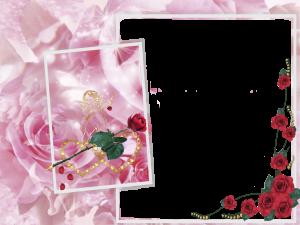 Праздничная рамка с розами. Слева будет уместно поместить красивый стих с поздравлениями или просто добрые пожелания.
