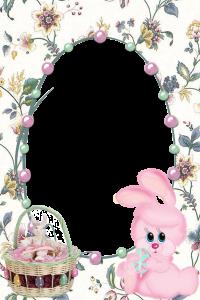 Пасха - светлый праздник.  если у вас остались пасхальные фотографии, то рамка для овальной горизонтальной фотки с прикольным милашкой зайчиком, пасхальной корзинкой с сидящим в ней   пасхальным кроликом станет лучшей основой для фотографии. А пасхальные крашеные яйца, разноцветные бусы и прекрасные цветы дополнительно украсят фото.