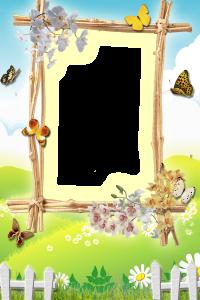 У вас есть хорошая летняя вертикальная фотография и вы не знаете как оформить фото? рамка для фотошопа - цветущий луг подойдёт лучше всего. Насыщенные яркие краски: сочная зелень, пронзительно голубое небо и белоснежные облака служат отличным фоном. А Весёлые ромашки, порхающие беззаботно бабочки, дивные орхидеи и белый сельский заборчик отлично дополняют фото. А веточки эффектно обрамляют саму фотографию.