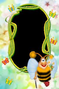 Интересная рамка для фотошопа. На фоне цветы яблони, а персонажи рамки - бабочки и весёлая мультяшная пчёлка с букетом и тросточкой. Рамка подходит для вертикальной фотографии, обрамление - овал. Цветовая гамма нежно голубой, бирюзовый и розовый цвета в стиле импрессионизма. Рамка идеально подходит для оформления детской фотографии с летних каникул.