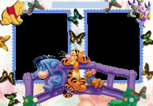 """Детская рамка """"Для друзей"""". Все герои мультика про Винни Пуха станут лучшими друзьями вашего малыша, а вокруг будут порхать красивые бабочки. Рамки бесплатные. Детские фоторамки."""