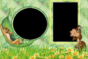 Детская бесплатная фоторамка с героями Диснея. Тимон кайфует, отдыхая в гамаке из листьев. Рядом обезьянка удивленно смотрит вверх. Интересно, что же она заметила? Да это же ваша фотография!