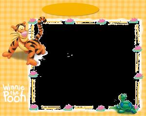 Тигра смотрит на черепаху, а та его совсем не боится, потому что он добрый и задорный. Рамки бесплатные. Детские фоторамки.