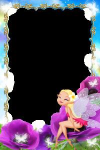 Детская фоторамка с феей, бабочкой и цветами.