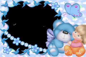 Детская фоторамка с медведем, куклой, бабочками и цветами.