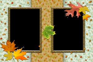 Фоторамка на две фотографии. Осенняя рамка с кленовыми листьями.