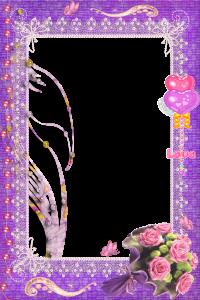 Рамка для фотошоп про любовь. Любовь, цветы и сердечки. Розовый и фиолетовый цвета, множество деталей - сделают ваш кадр намного интереснее.