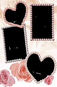 Россыпь разноцветного жемчуга. Рамка для фотошоп с сердечками и розами - то что нужно для фотоальбома.