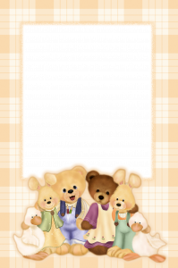 Детская фотошоп рамка. Как хорошо дружат уточки, зайки и медвежата. Берите с них пример.