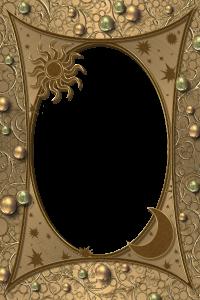 Восточная сказочная рамочка с солнцем и месяцем в золоте и бронзе. Очень величественная и таинственная.