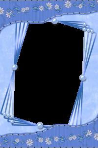 Рамка для фото с синими и белыми ромашками. Наклон создает иллюзию движения. Очень оригинально.